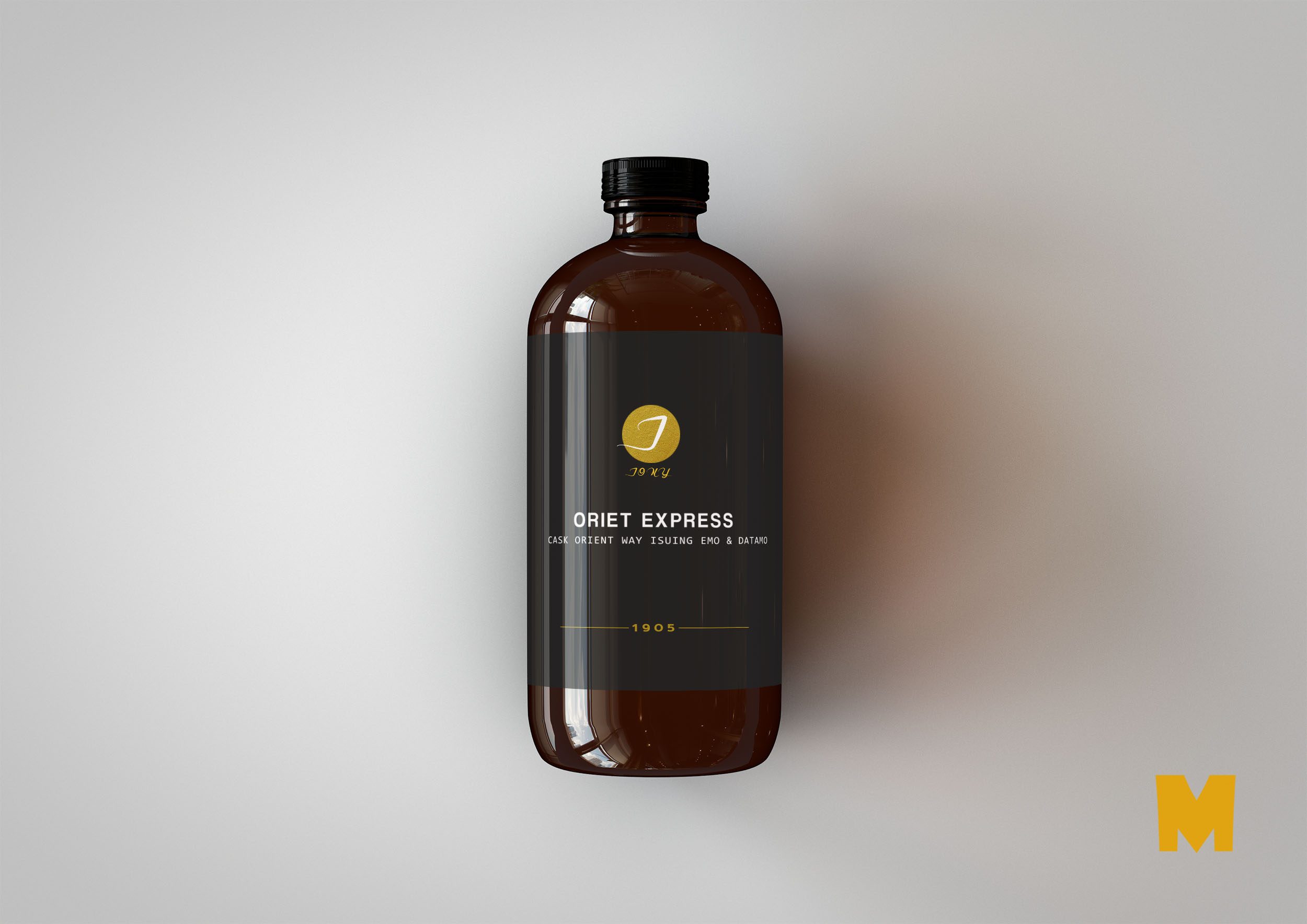 Free New Powder Glass Bottle Label MockUp