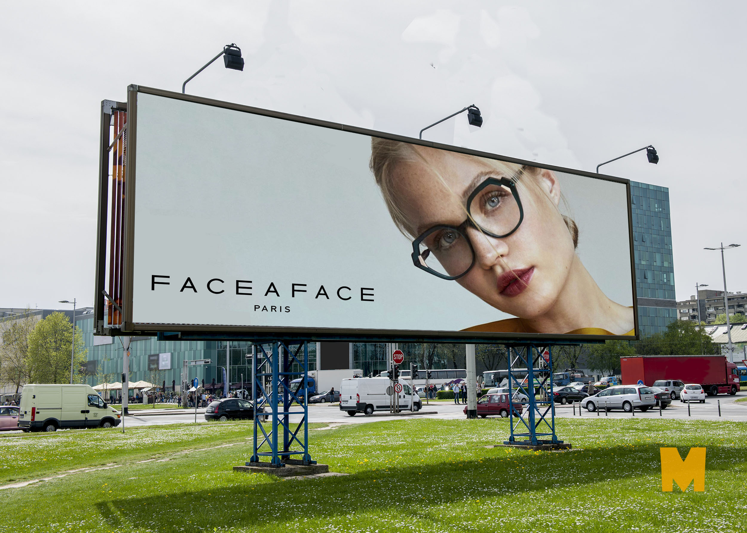 Free New Sunglasses Billboard Banner PSD Mockup