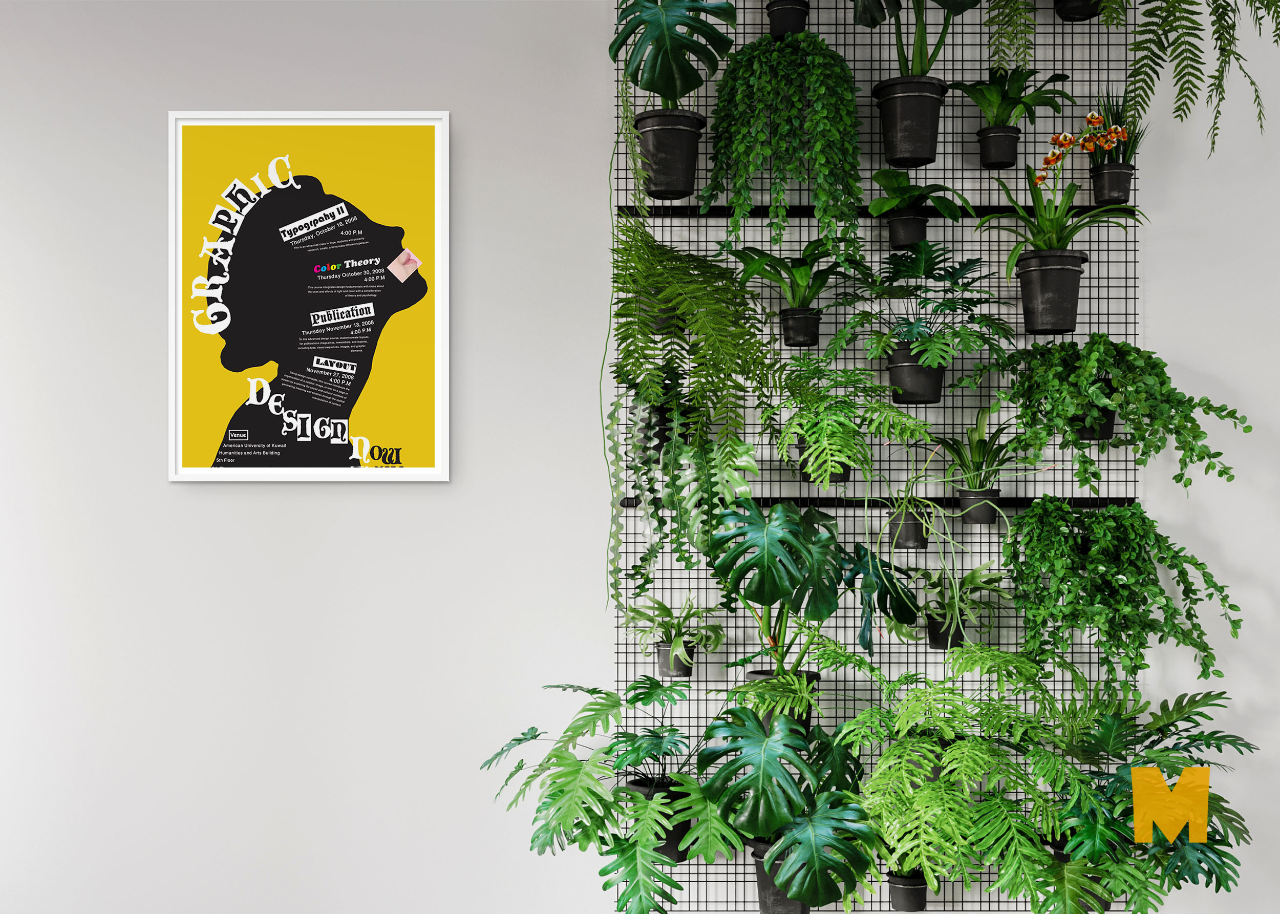 Free New Wall Poster Garden Mockup