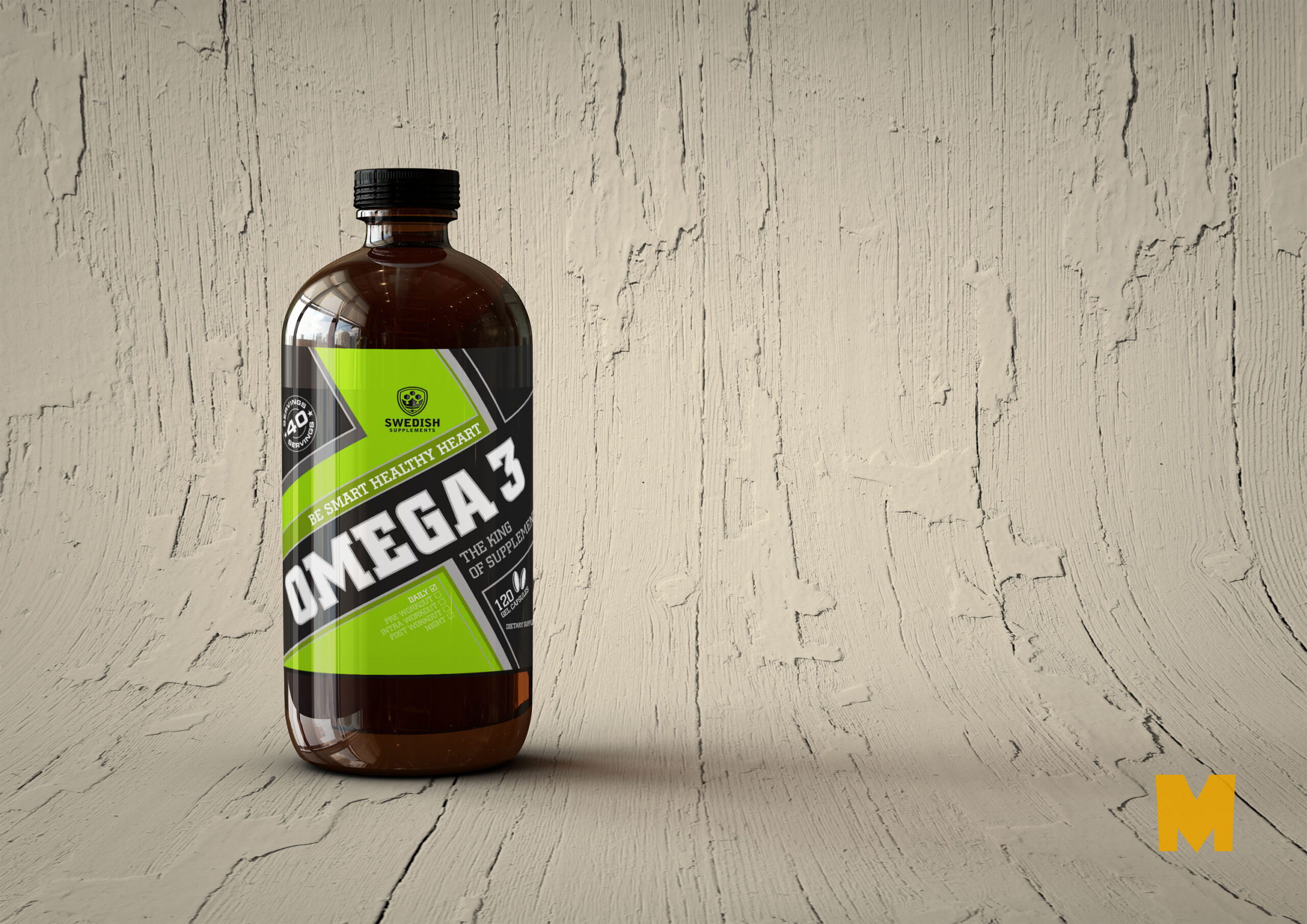 Free Omega PSD Bottle Label Mockup