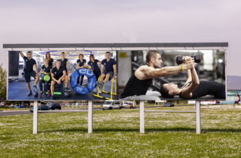 Free PSD Body Building Competition Banner Mockup