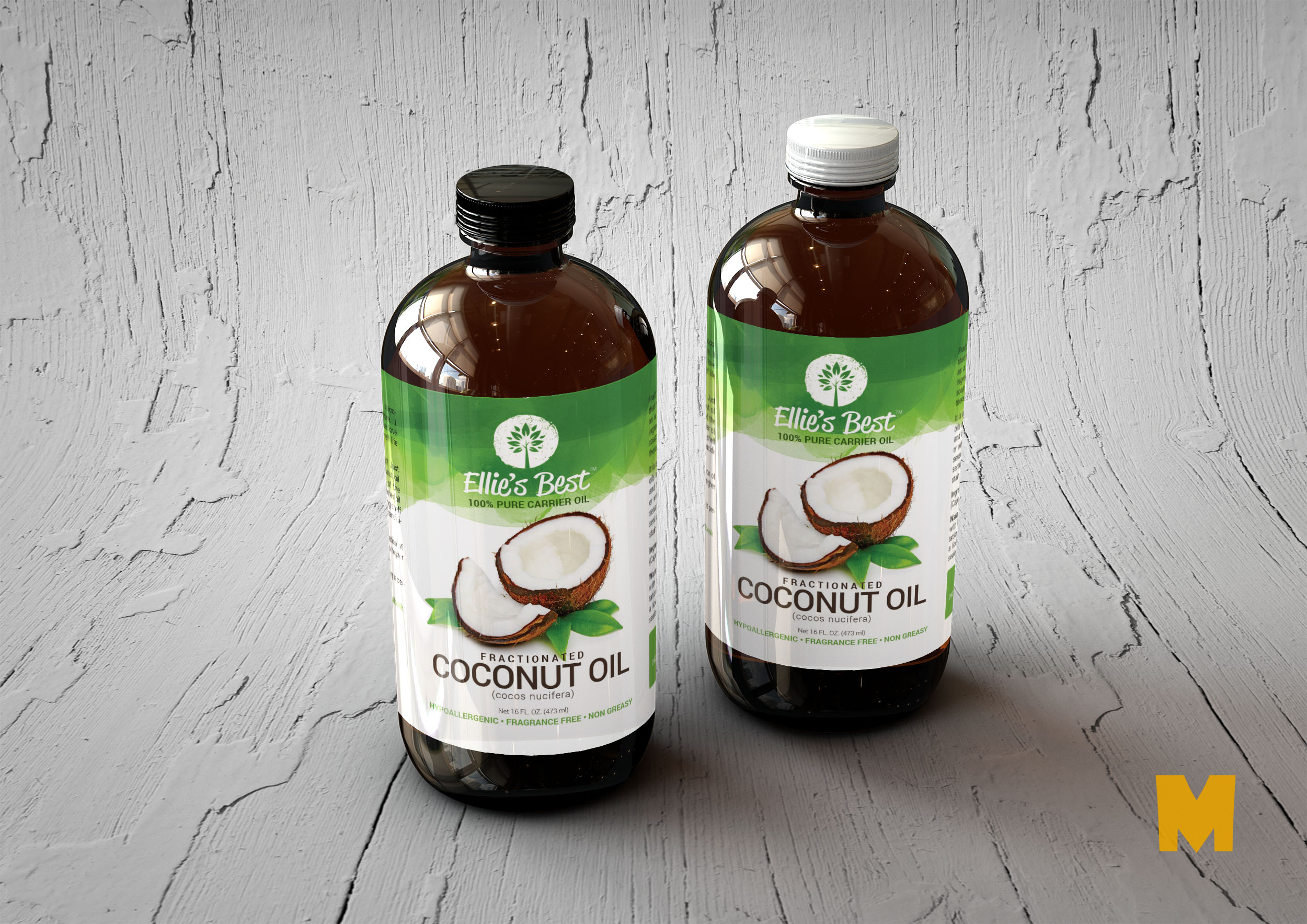 Free PSD Coconut Oil Bottle Label MockUp
