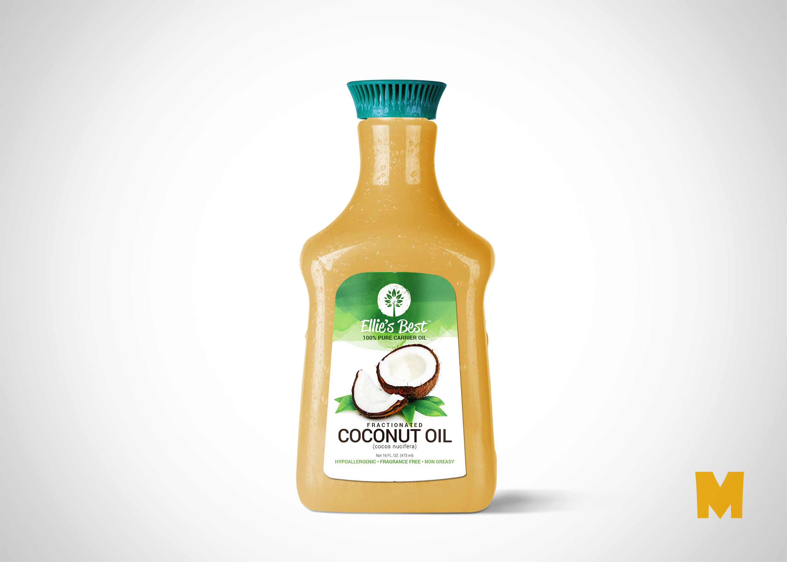 Free PSD Coconut Plastic Bottle Label Mockup
