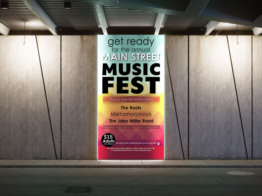 Free PSD Music Fest Event Billboard Advertisement Mockup