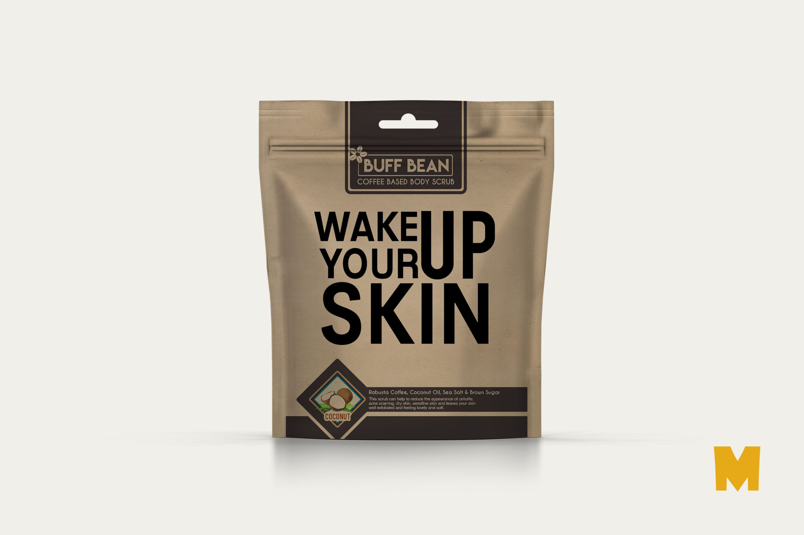 Free PSD Skin Face Pack Pouch Label Design Mockup