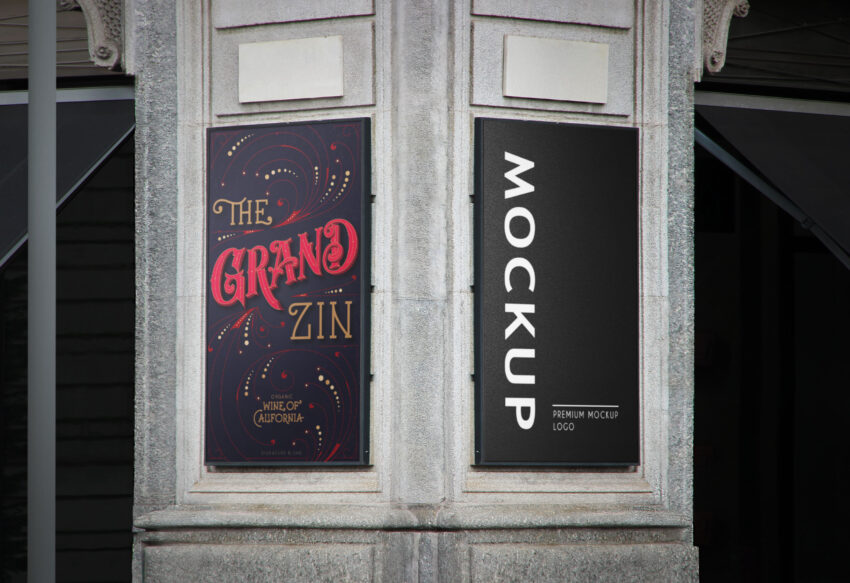 Free Wall Two Sided Rollup Banner Mockup