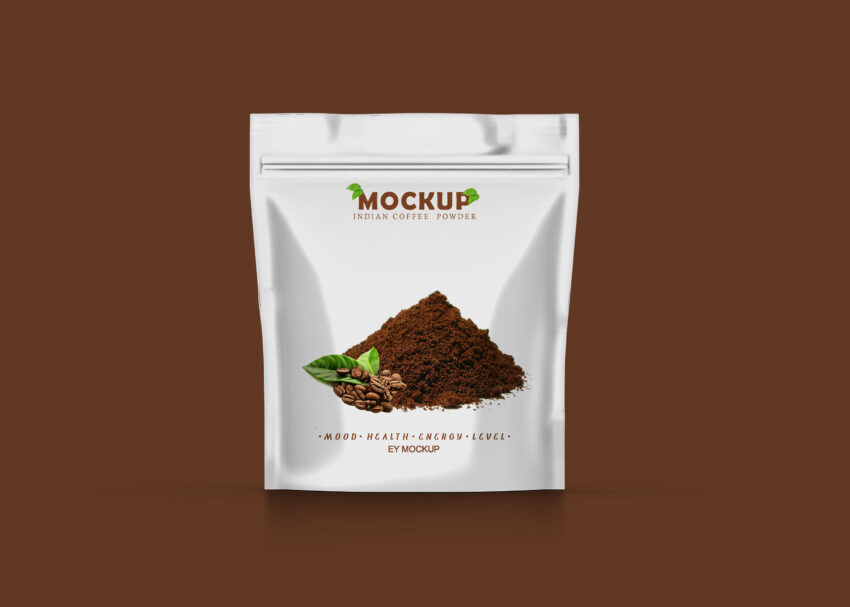 New Coffee Pouch Label With Zipper Mockup