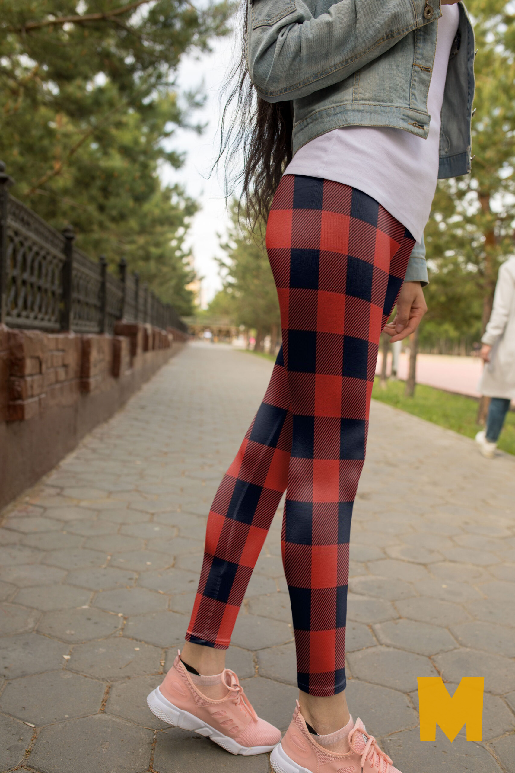 New Design Check Printed Leggings Mockup