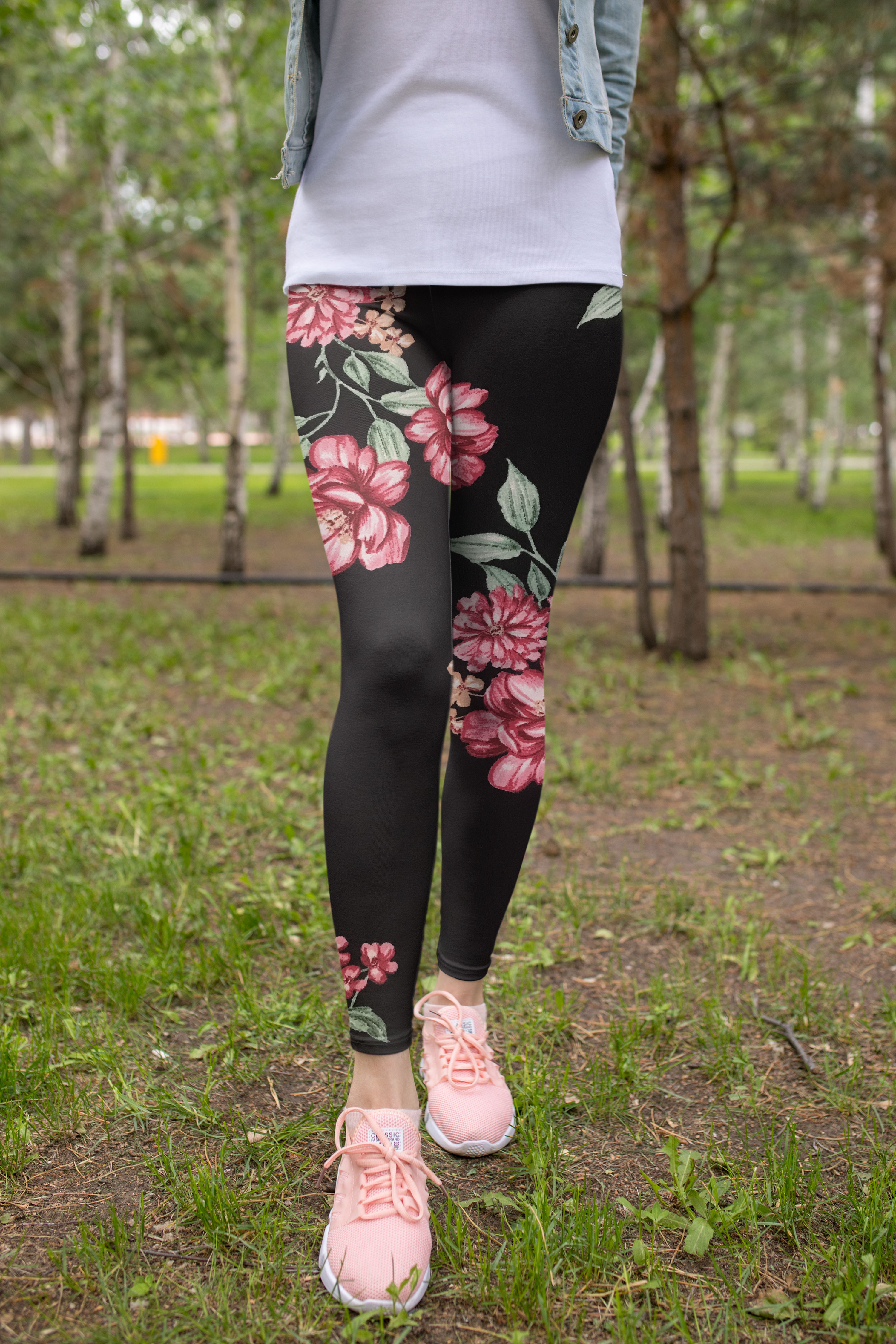 New Design Floral Printed Leggings Mockup