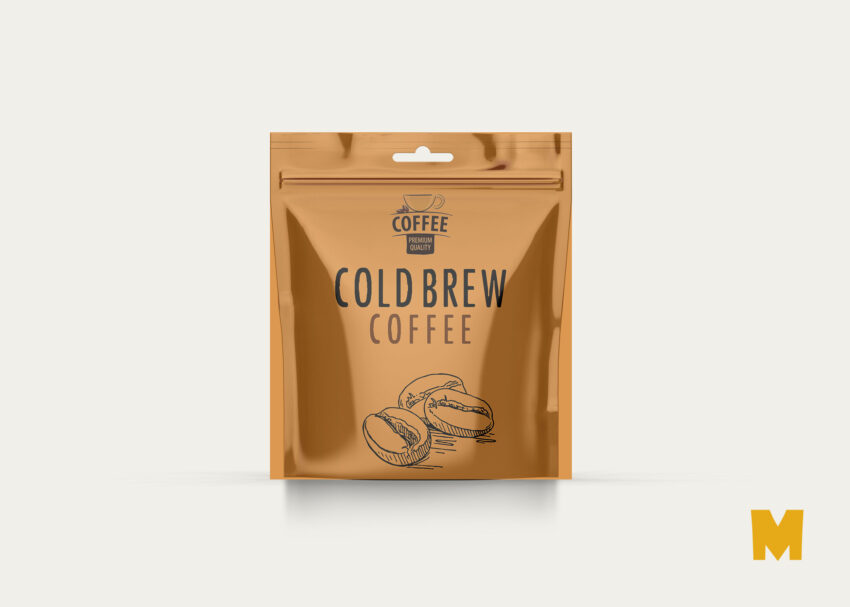 Transparent Free PSD Coffee Pouch Label Mockup