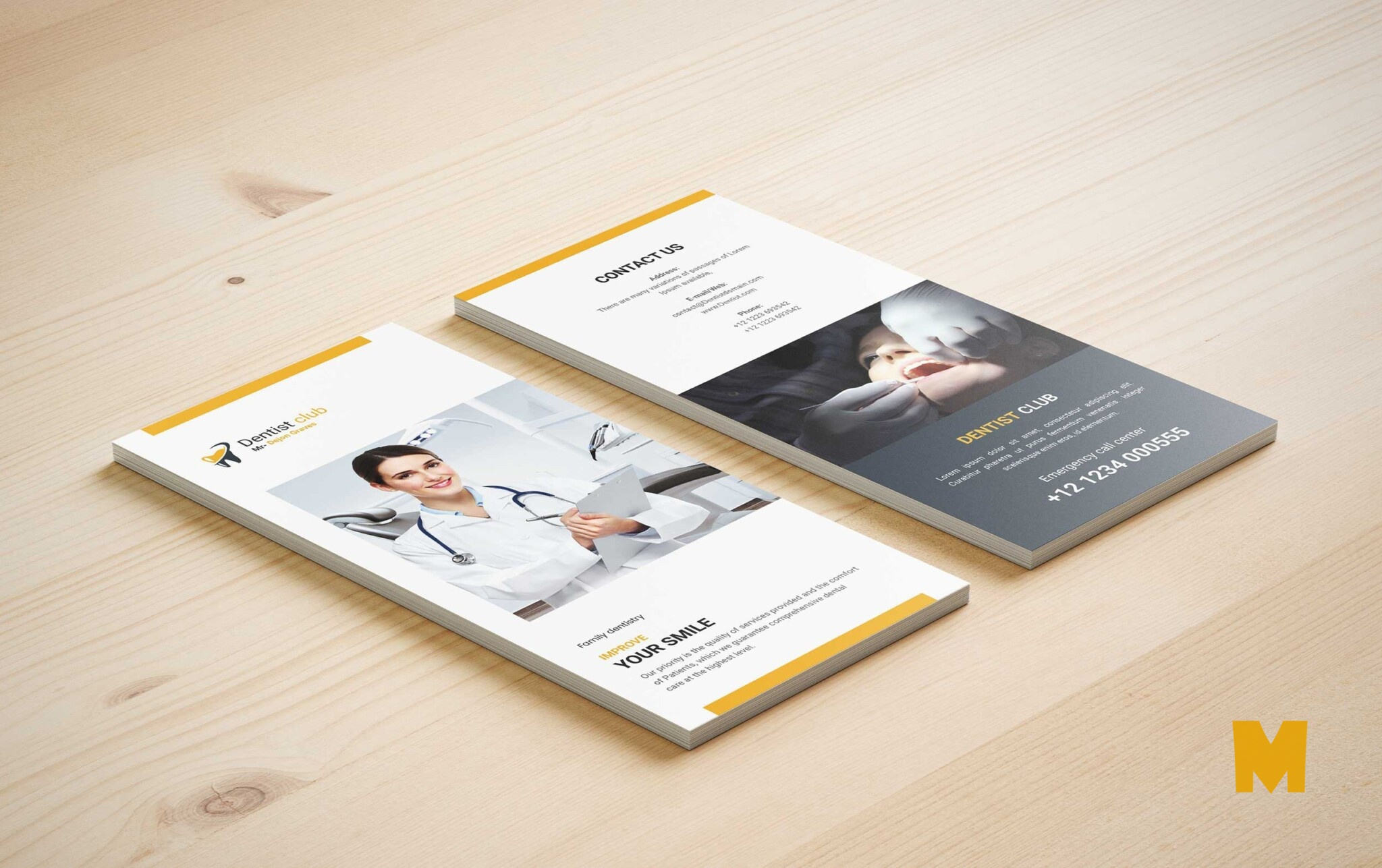 Tri-fold Checkup Psd Premium Dental Brochure Mock-up Template