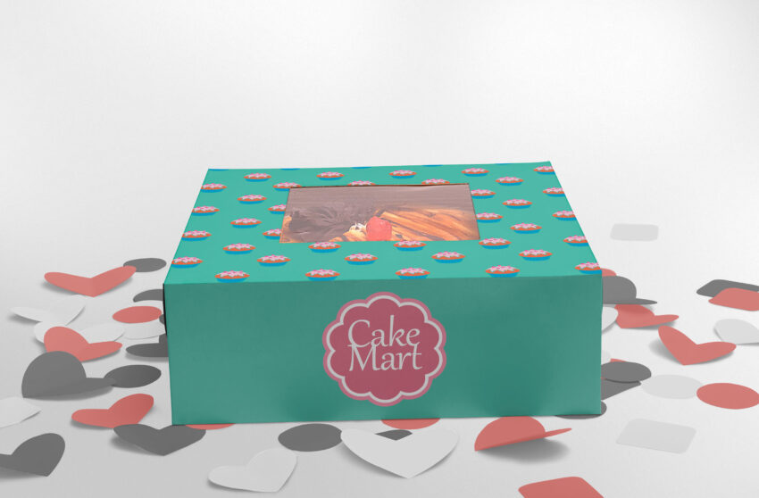 Free Cake Packaging Box Mockup