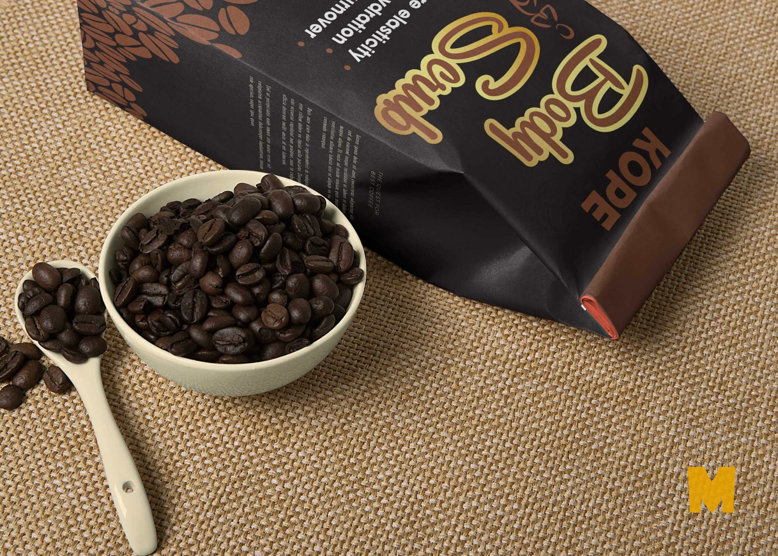 Free Coffee Beans Pouch Mockup