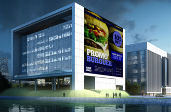 Free New Office Building Banner Mockup
