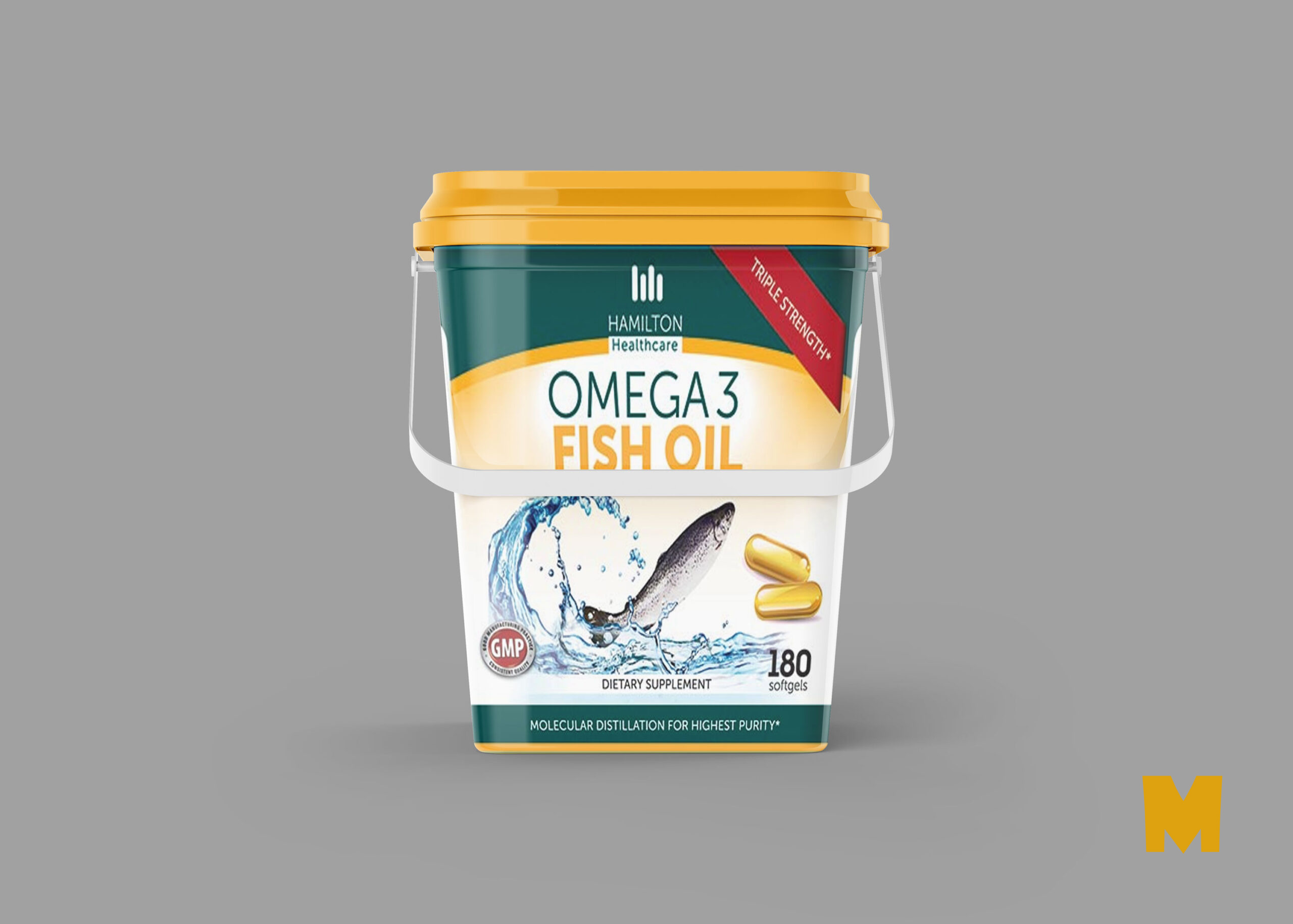 Free PSD Fish Oil Container Mockup