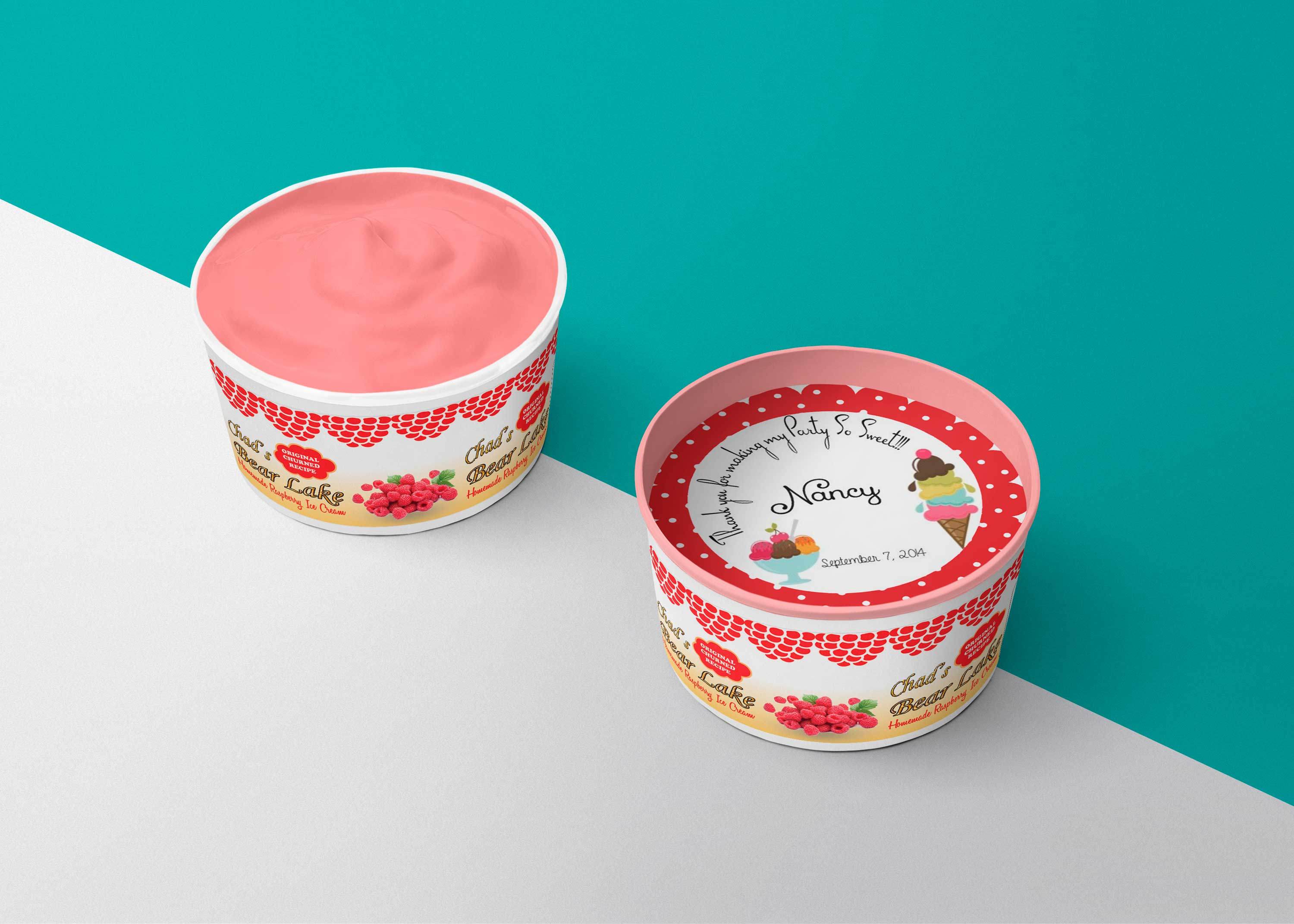 Free Strawberry Ice Cream Cup Mockup
