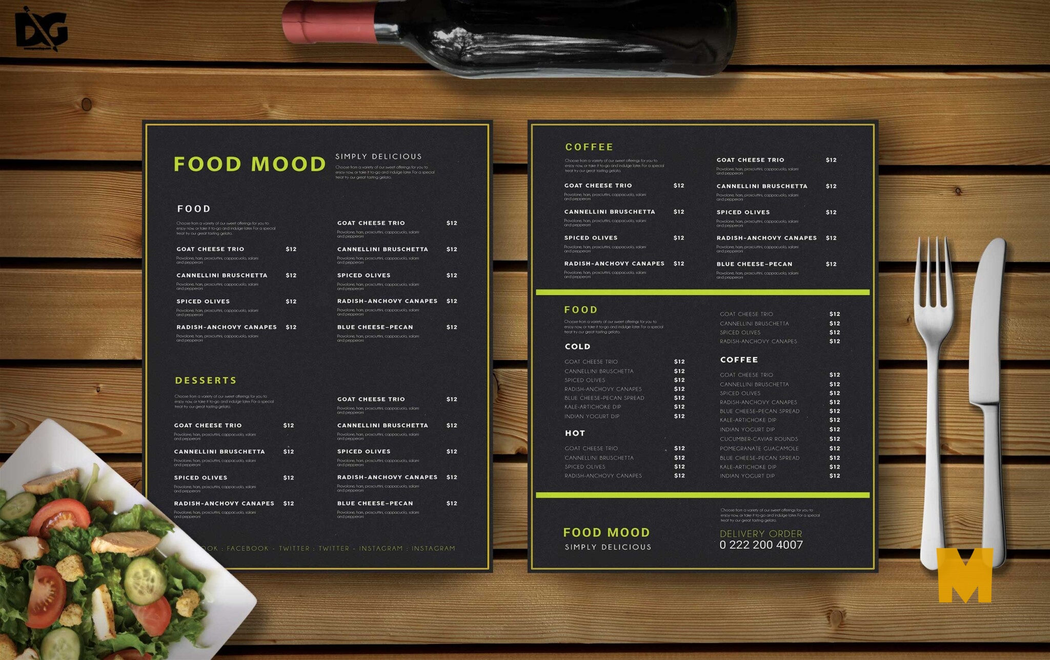 Clean PSD Menu Template