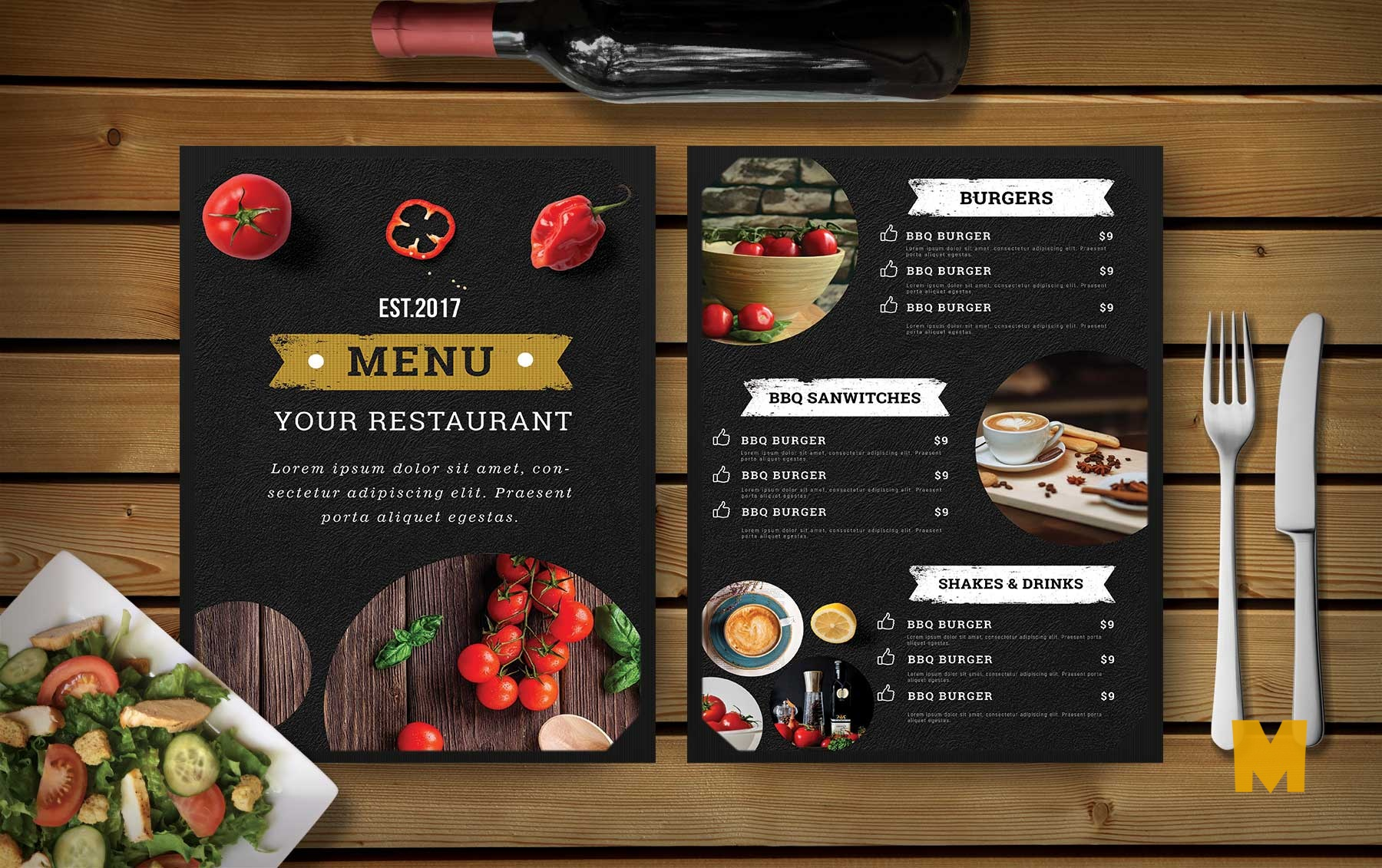 Hotel PSD DInner Menu Template
