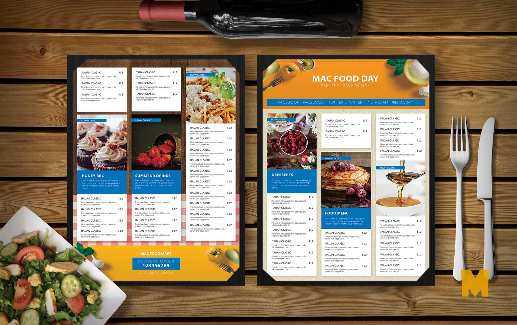 Restaurant Food Snacks Menu Template