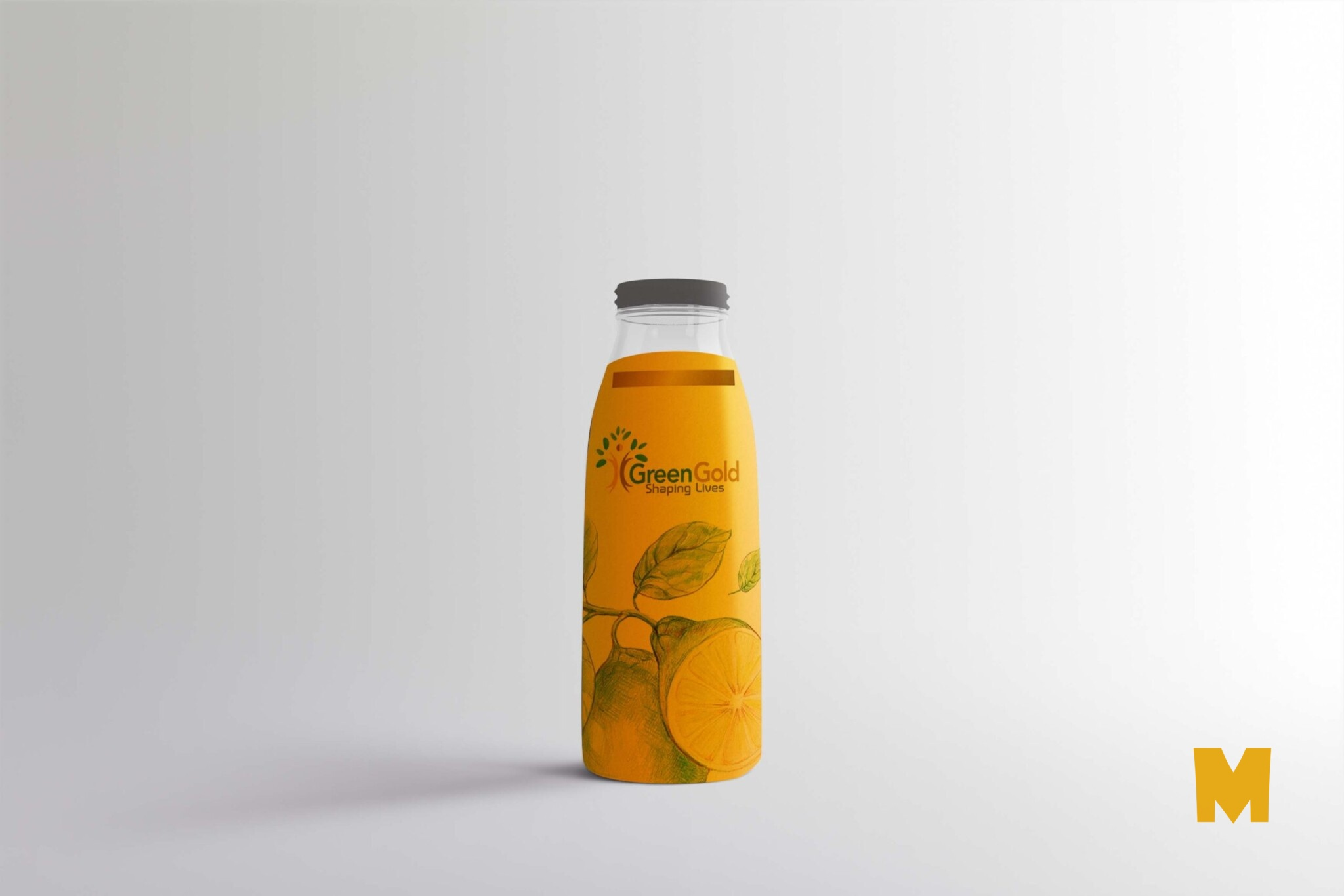 Yellow Juice Milk Bottle Label Mockup