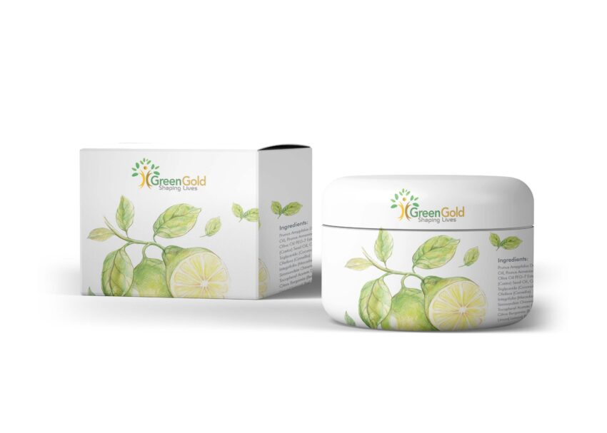 New Green Gold Cream Packaging Mockup