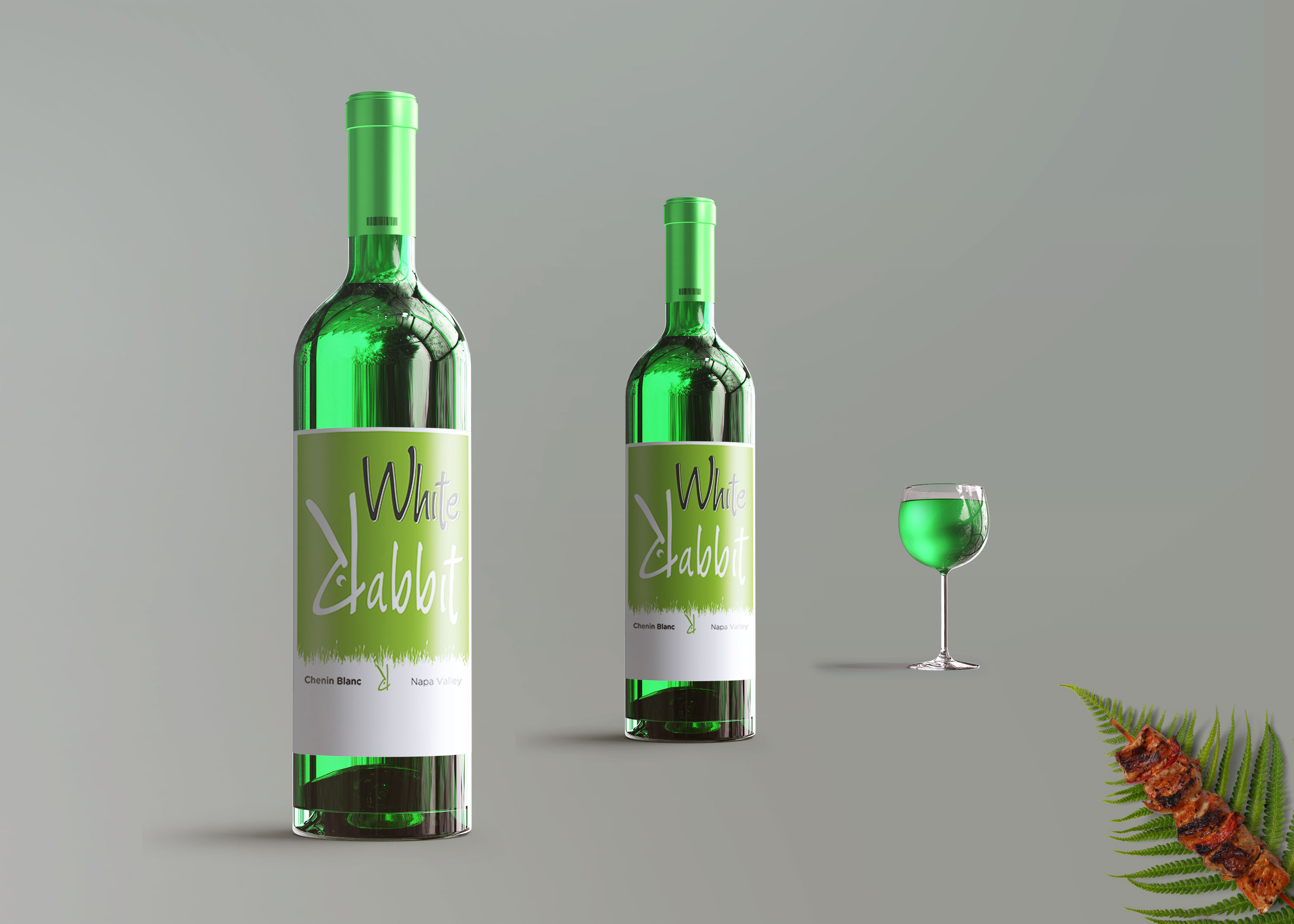 Free Glass Wine Bottles Mockup