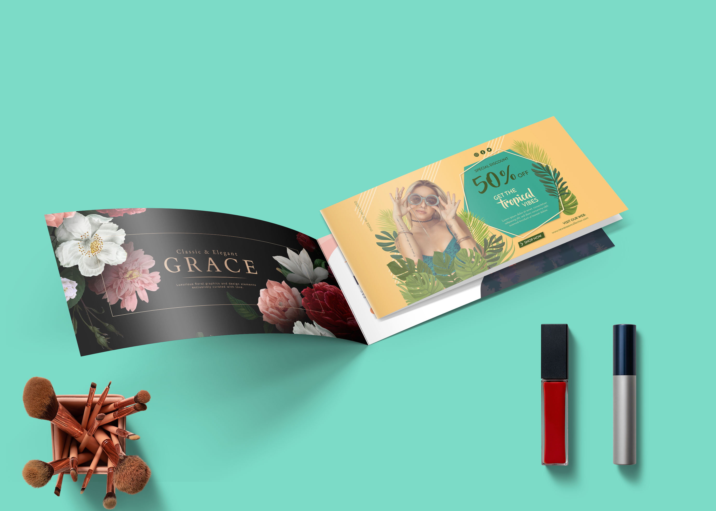 Wide Brochure PSD Mockup