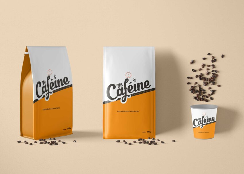 Coffee Paper Pouch Packaging Mockup
