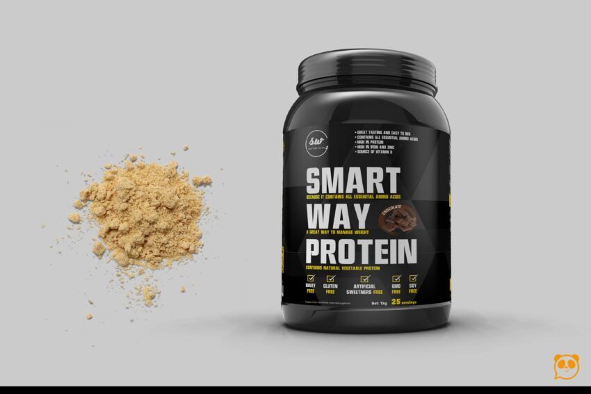Protein Powder Plastic Bottle Label Mockup