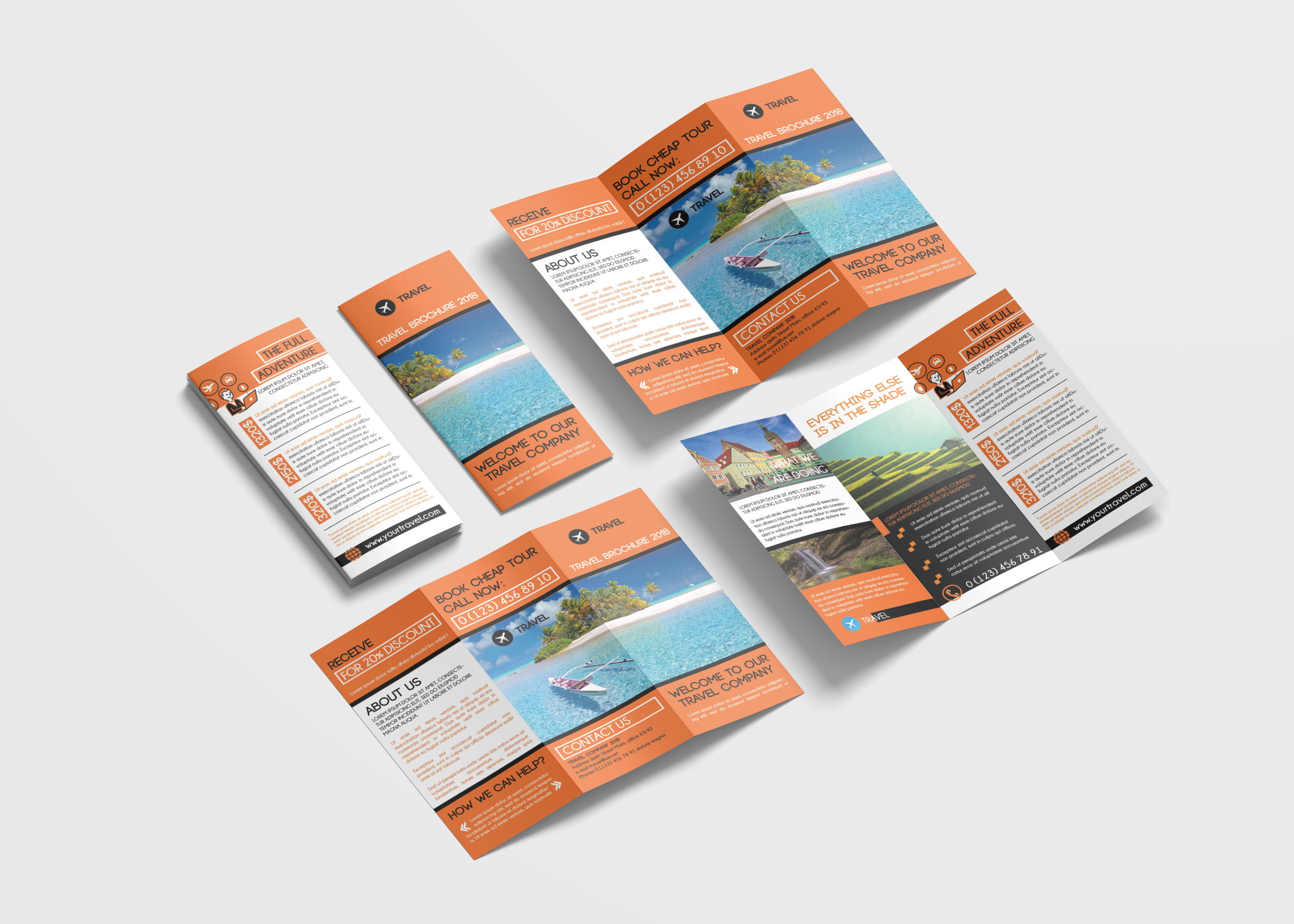 Travel Vacation Tri-Fold Brochure Design Templates