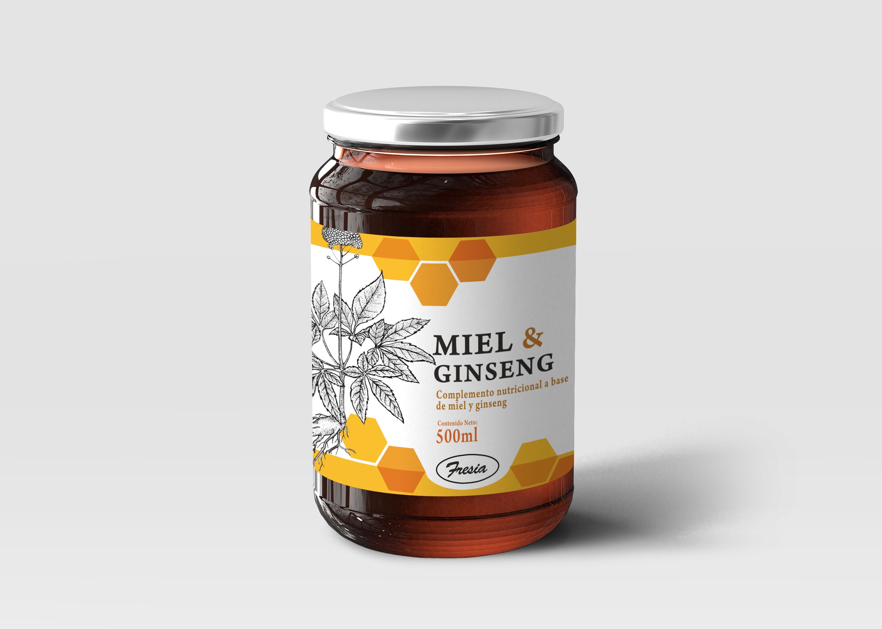 Premium Honey Jar Glass Bottle Mockup