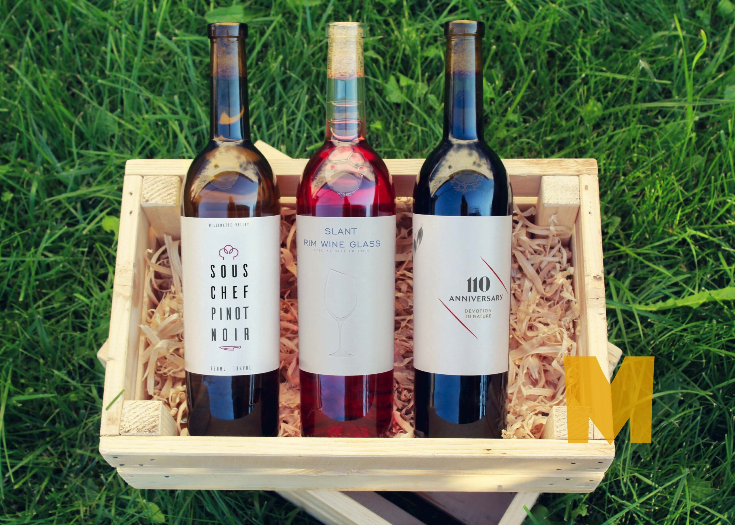 Three Prime Wine Bottle Label Mockup