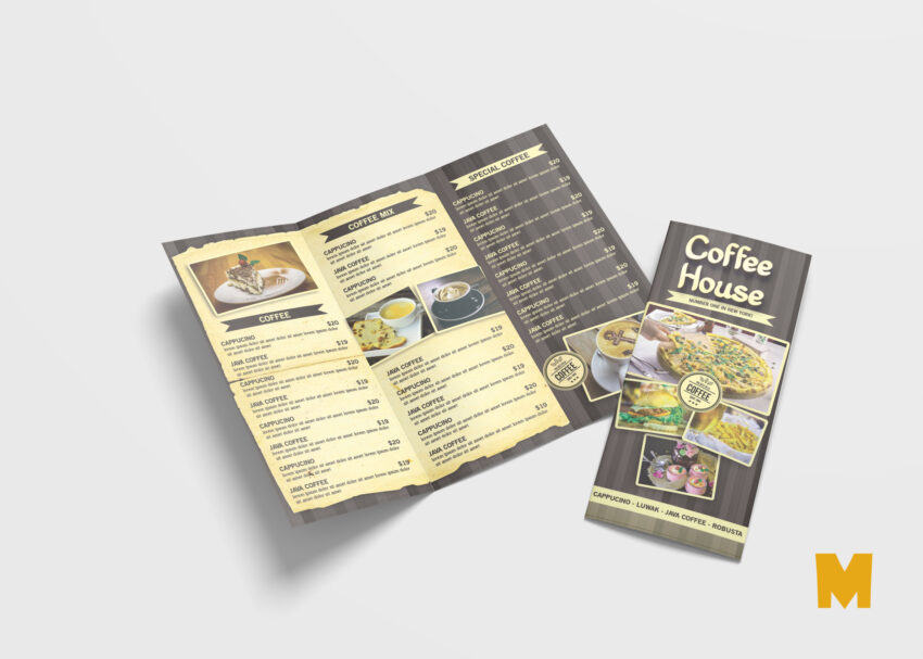 Coffee Shop Menu Tri-Fold Brochure Design Template