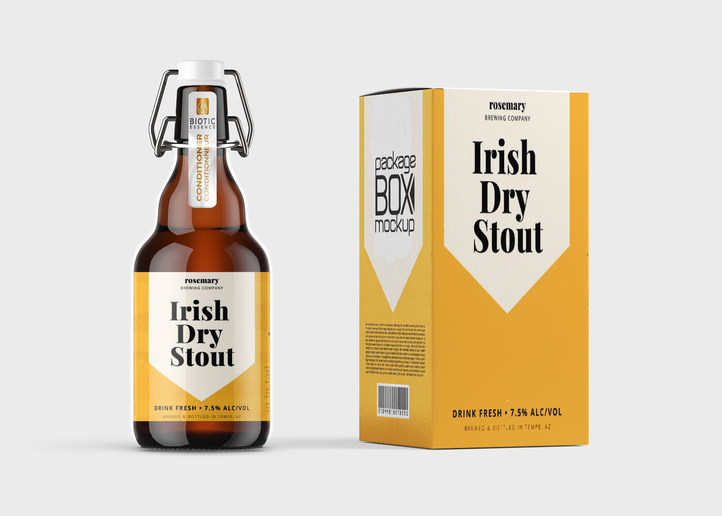 Yellow Beer Bottle Label Mockup