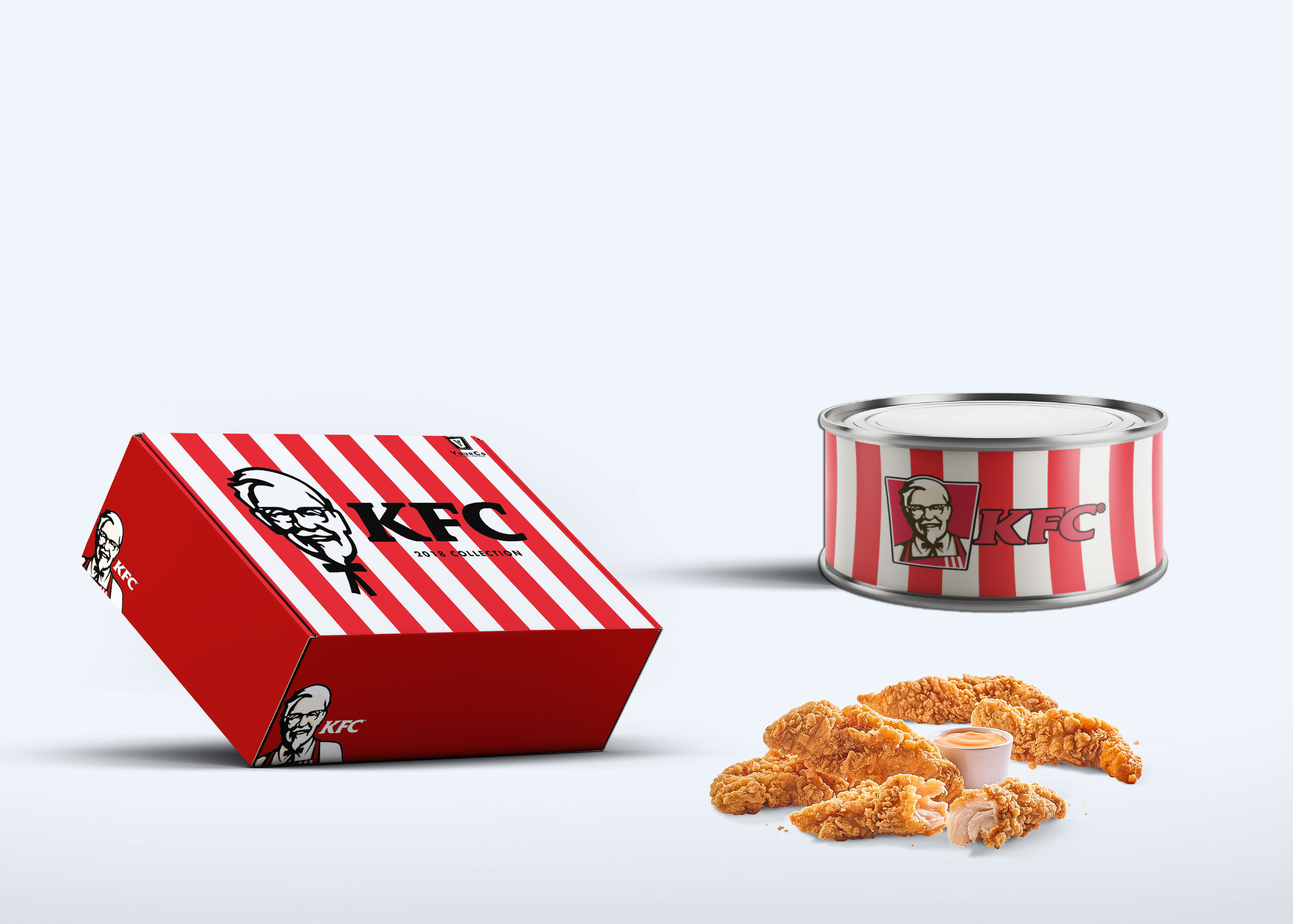 KFC Packaging Tin Can Mockup