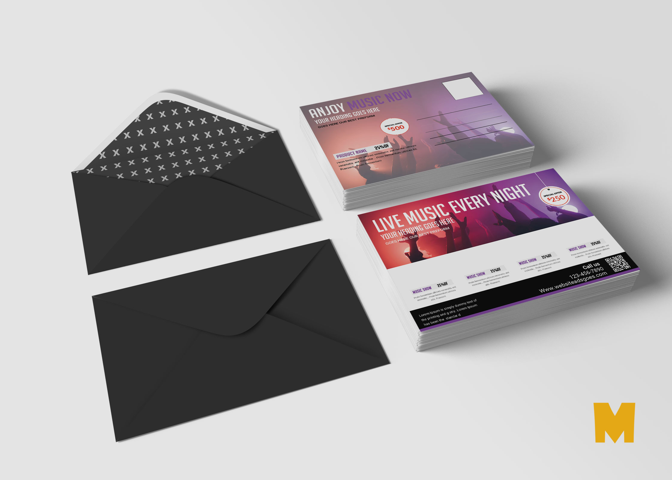 Music Postcard PSD Design Template