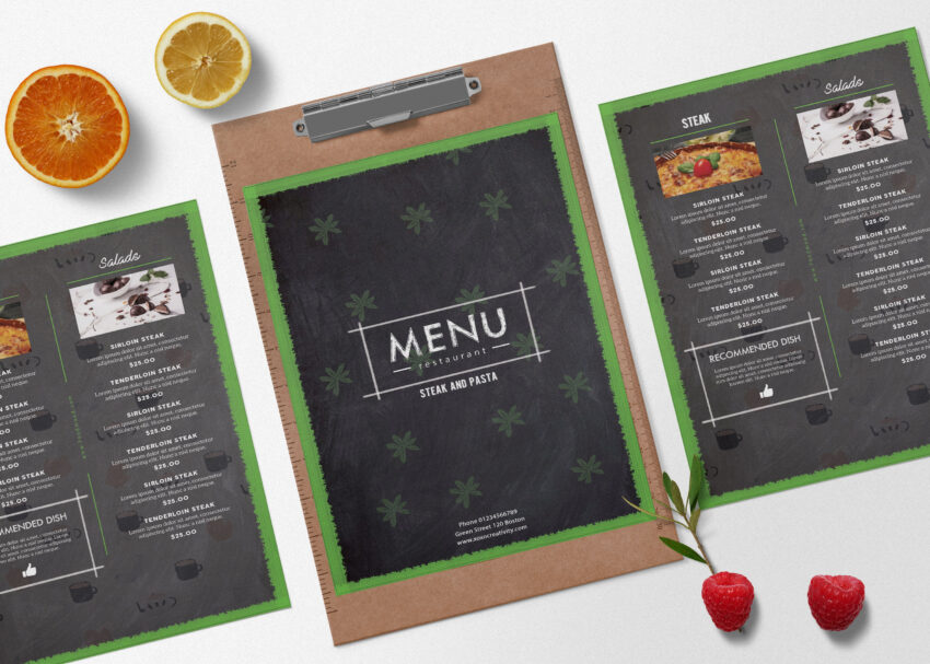 Menu Bi-fold Brochure Design Template