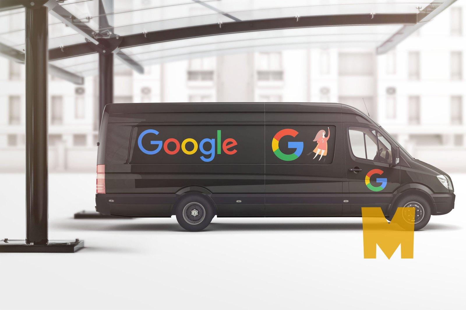 Black Google Car Wrap Design Mockup