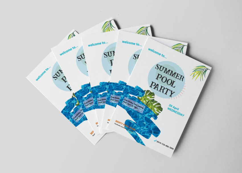 Pool Party Flyer Design Template