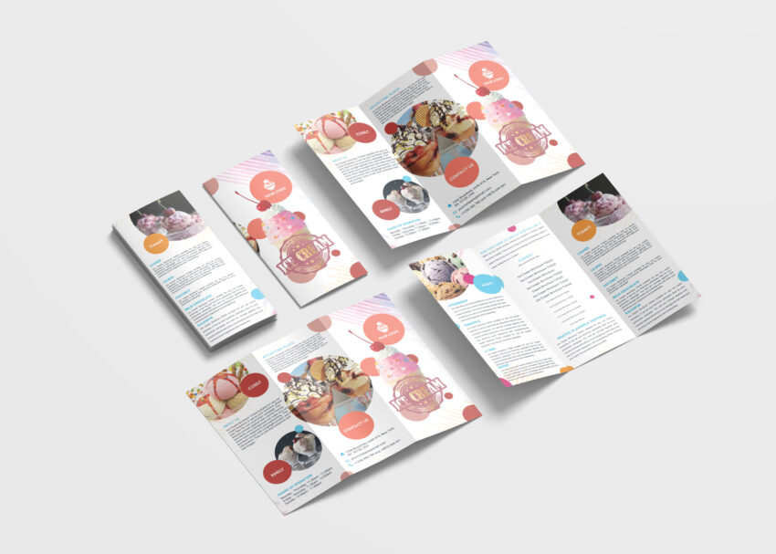 Ice Cream Sales Tri-Fold Brochure Design Templates