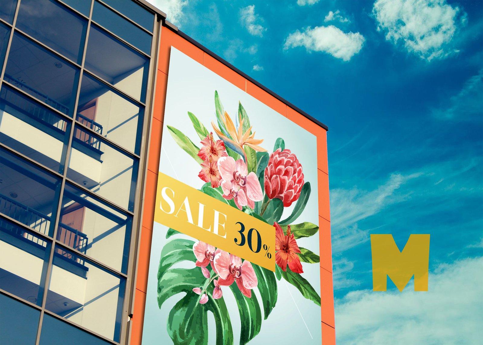 Glass Building Billboard Mockup