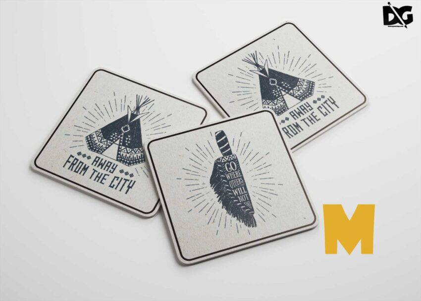 Square Beer Coasters Design Mockup