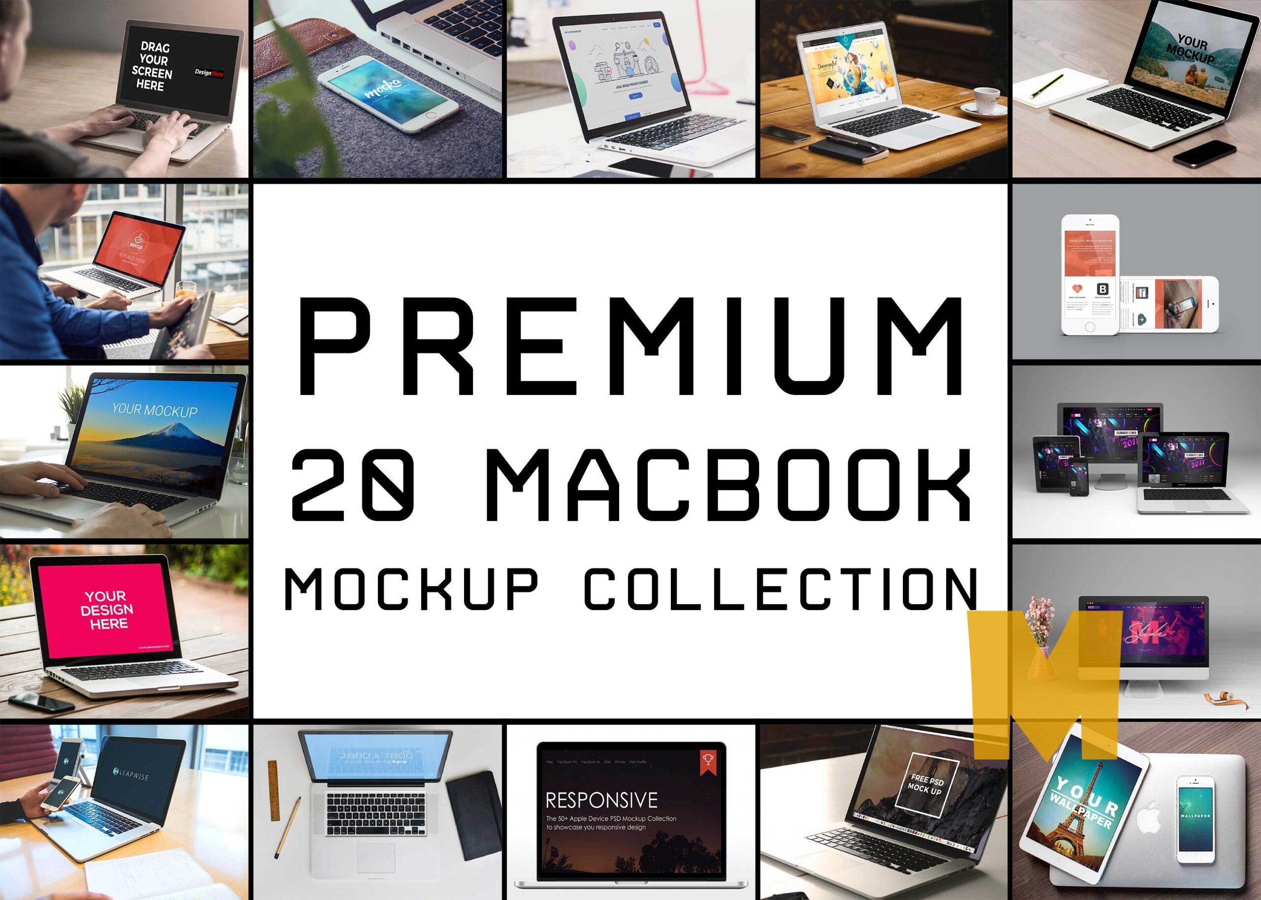 Top 20 Macbook Pro Mockup Collection
