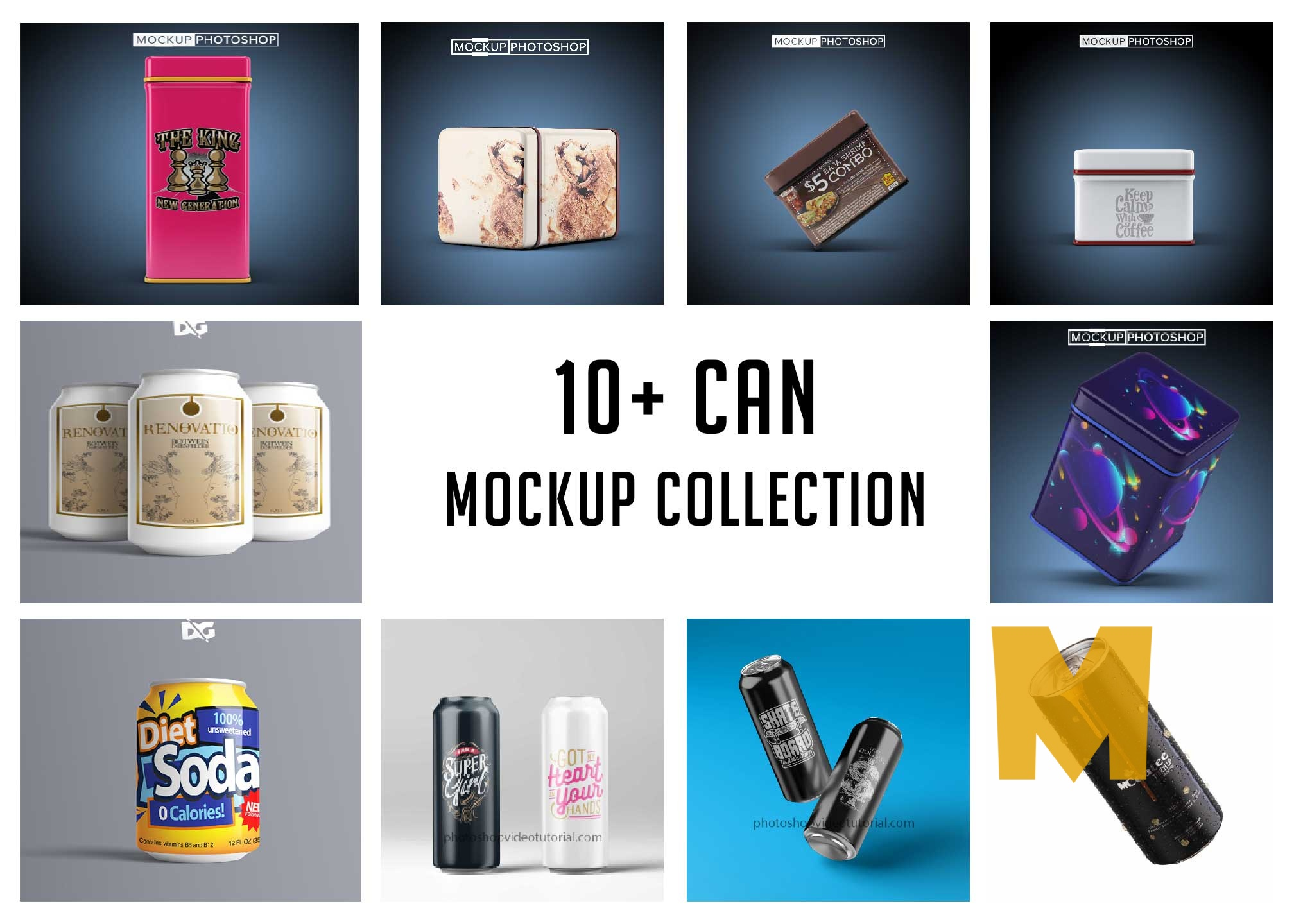 Latest 10 Can Mockups PSD
