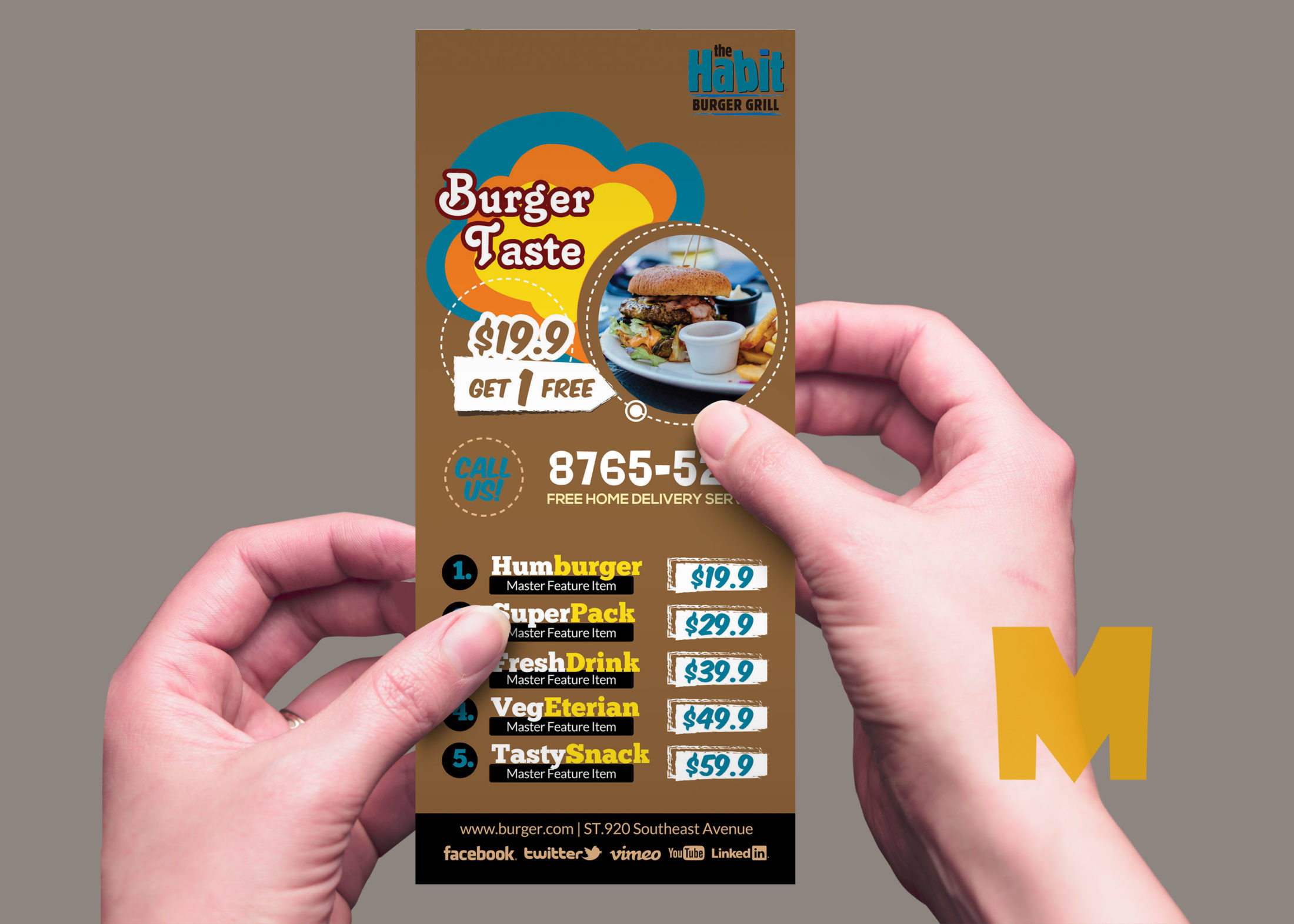 Restaurant Rack Card Template