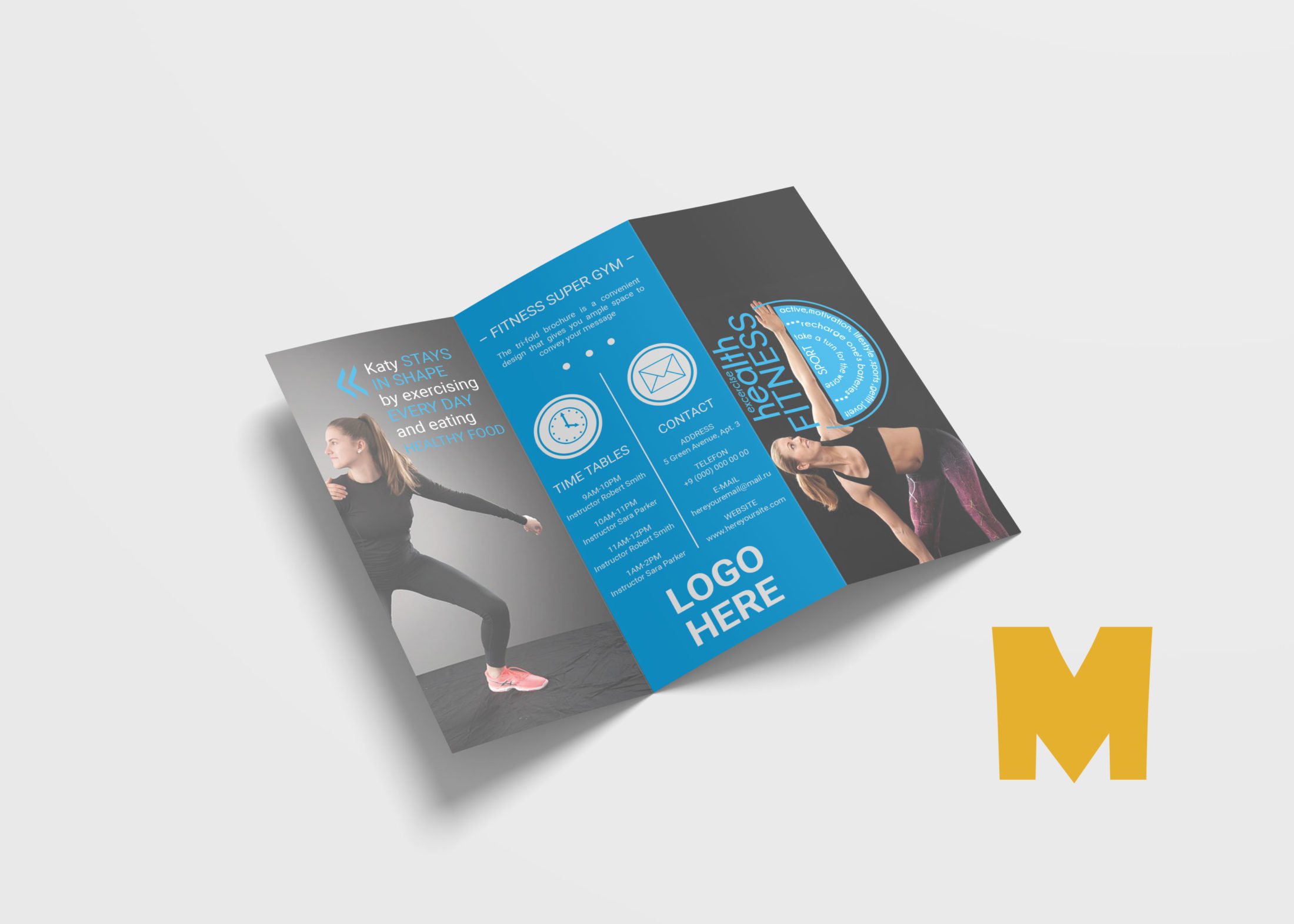 Fitness Tri-Fold Brochure Template