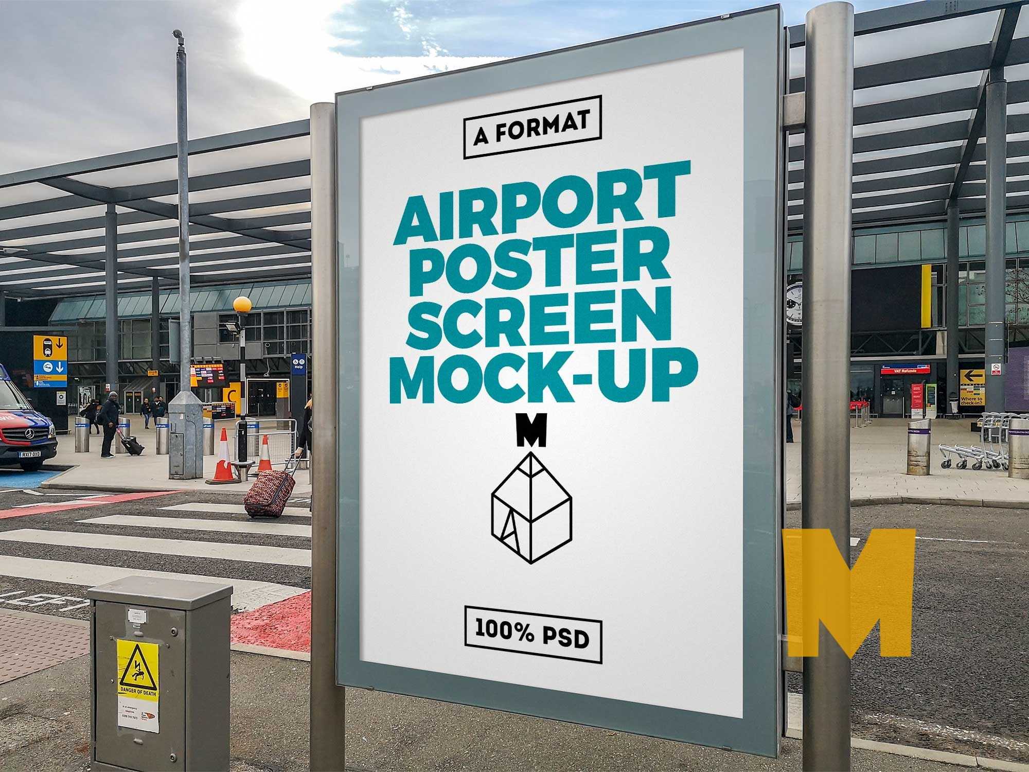 Airport Poster Screen Mockup