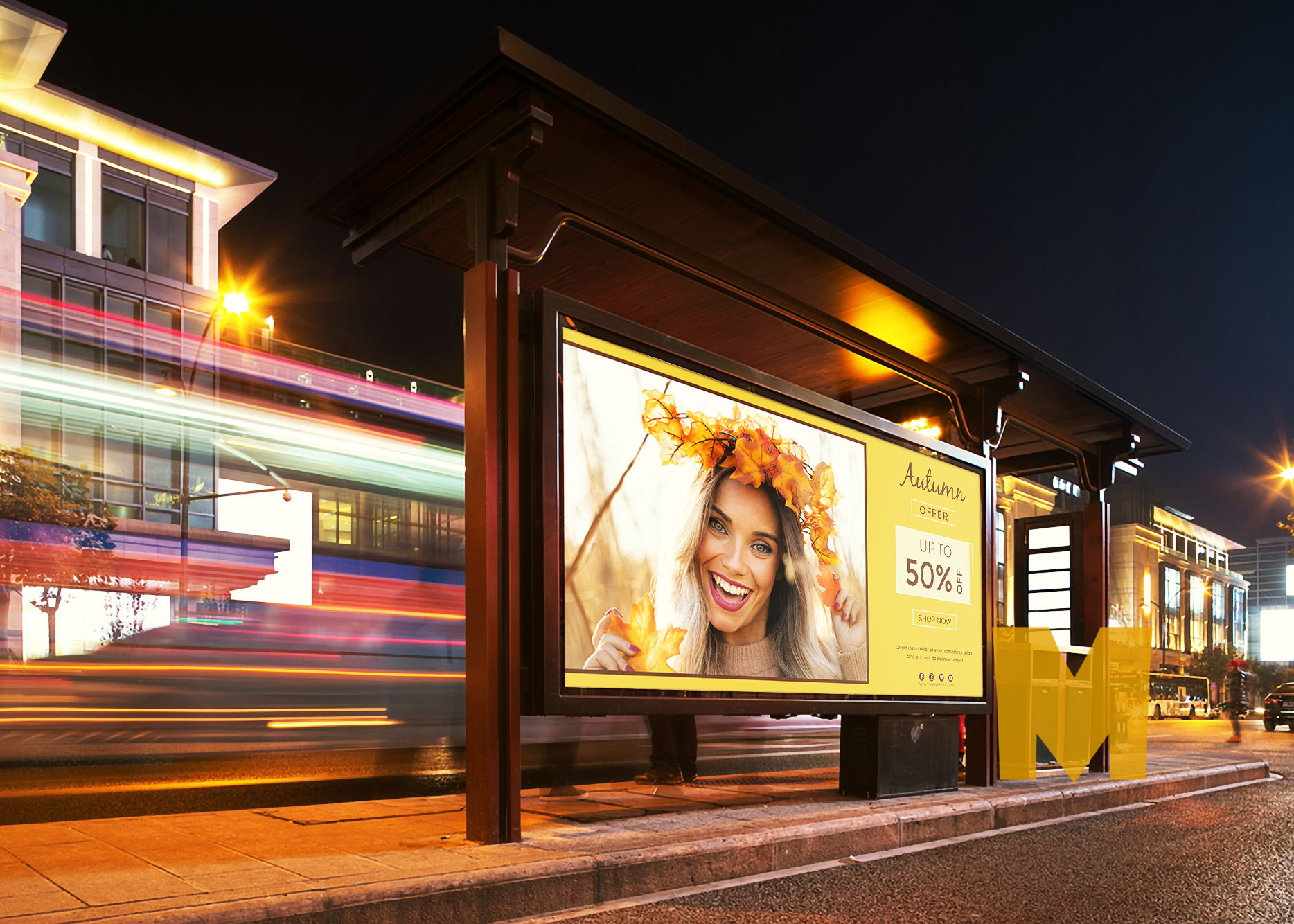 Bus Stand Billboard Mockup
