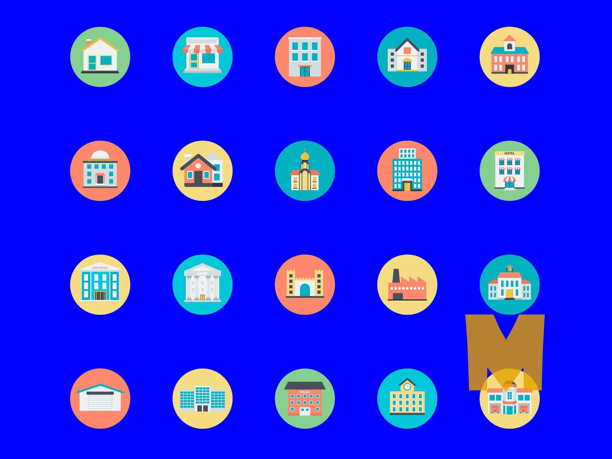 Colorfull Buildings Icon Set (500 Icons)