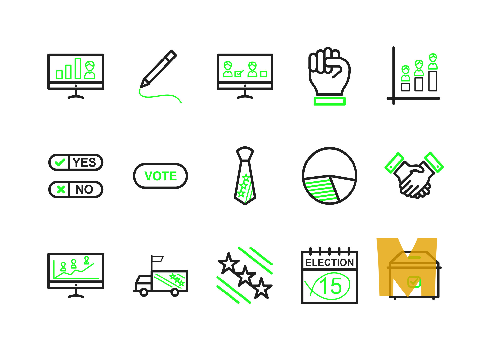 Flat Elections Icon Set